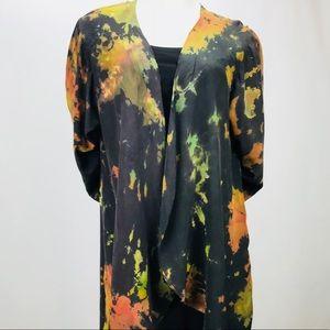 NWT Circular Hem Hand Dyed Silk Crepe Jacket
